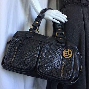 Elliot Lucia Black Pebbled Woven Leather Bag